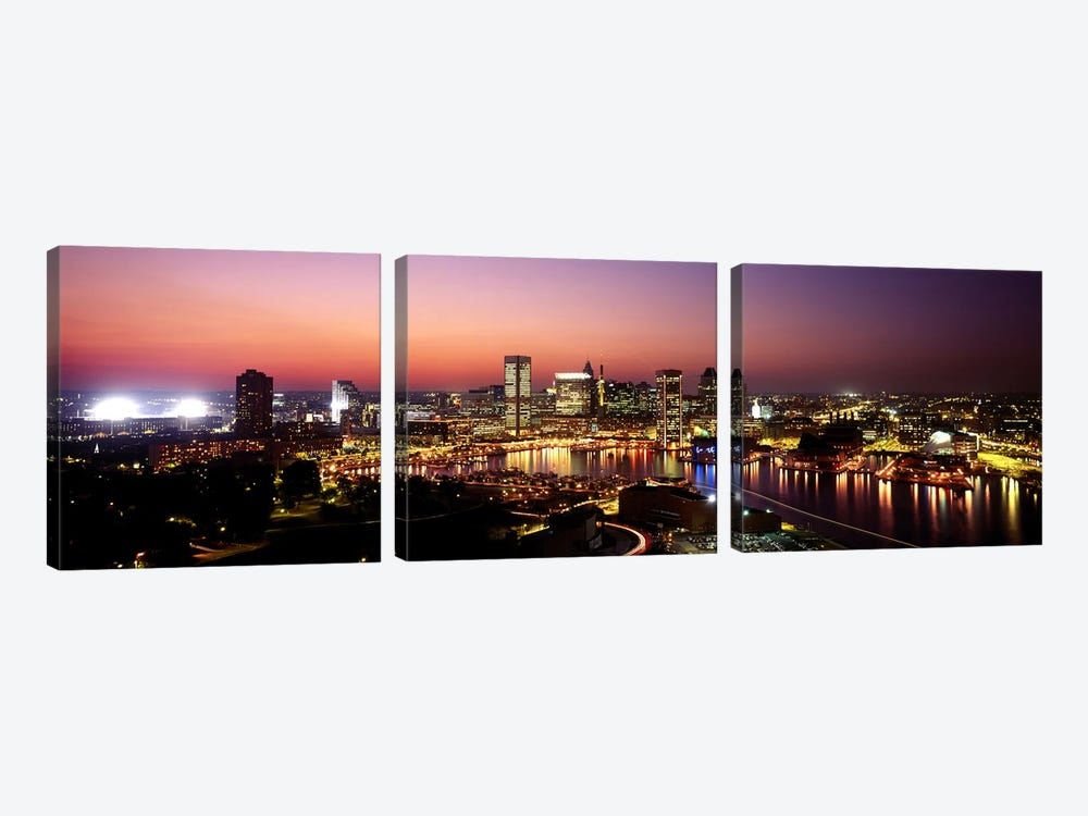 Buildings lit up at duskBaltimore, Maryland, USA by Panoramic Images 3-piece Canvas Wall Art