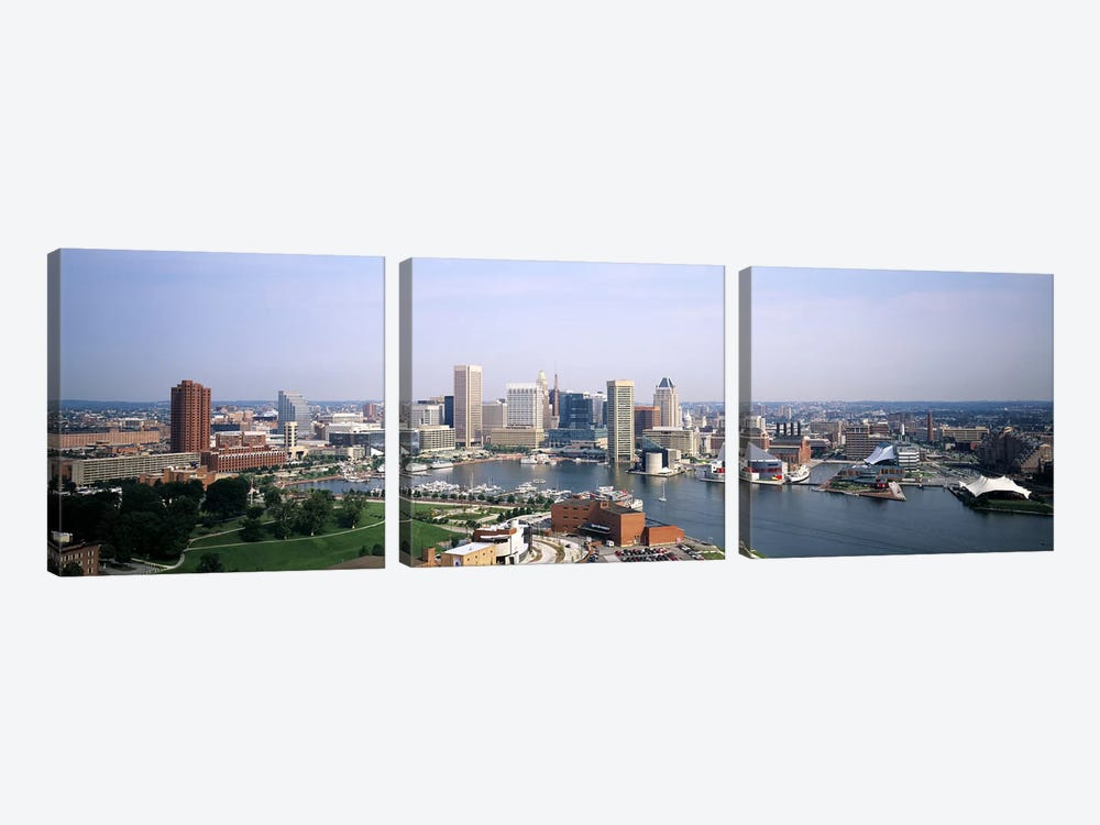 Skyscrapers in a city, Baltimore, Maryland, USA by Panoramic Images 3-piece Canvas Art Print