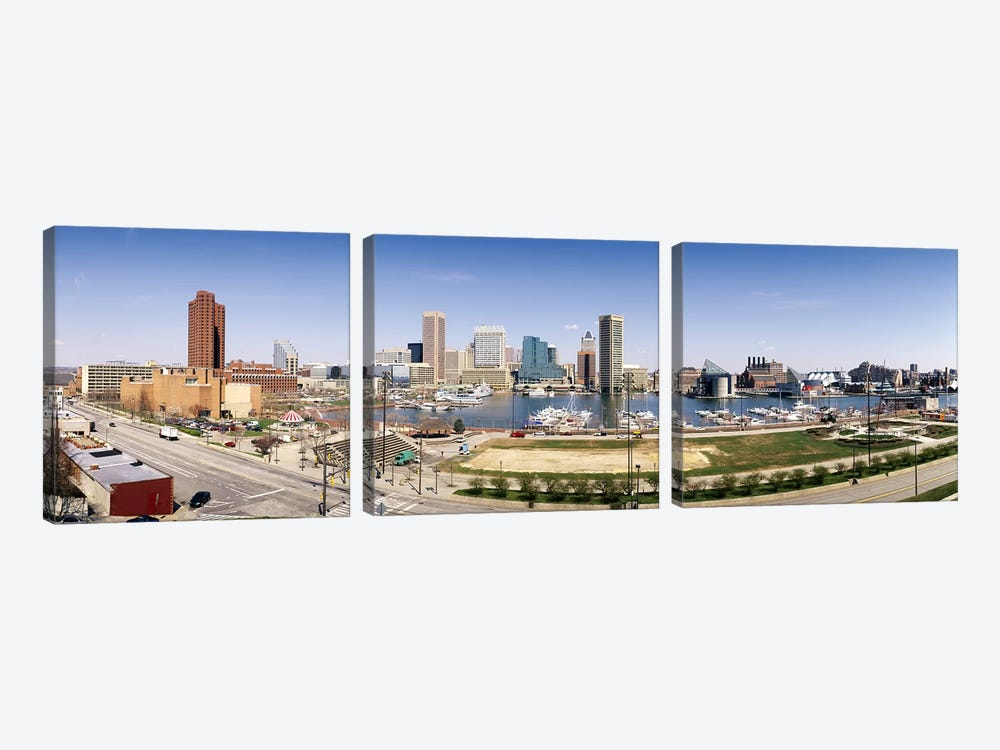 Skyscrapers in a city, Baltimore, Maryland, USA #2 by Panoramic Images 3-piece Canvas Artwork