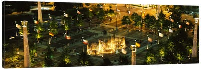 High angle view of fountains in a park lit up at night, Centennial Olympic Park, Atlanta, Georgia, USA Canvas Art Print