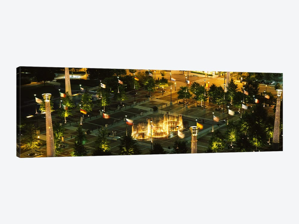 High angle view of fountains in a park lit up at night, Centennial Olympic Park, Atlanta, Georgia, USA by Panoramic Images 1-piece Canvas Wall Art