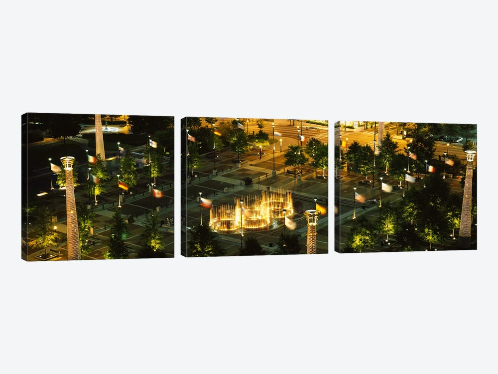 High angle view of fountains in a park lit up at night, Centennial Olympic Park, Atlanta, Georgia, USA by Panoramic Images 3-piece Canvas Artwork