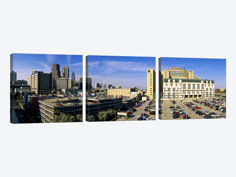 Hospital in a city, Grady Memorial Hospital, Skyline, Atlanta, Georgia, USA by Panoramic Images 3-piece Canvas Art