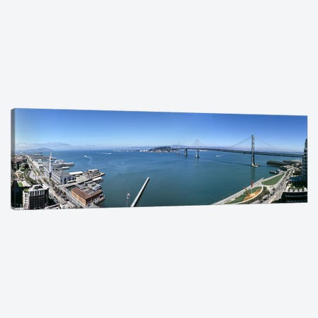 Buildings at the waterfront, Golden Gate Bridge, San Francisco Bay, San Francisco, California, USA Canvas Print #PIM6273} by Panoramic Images Canvas Art Print