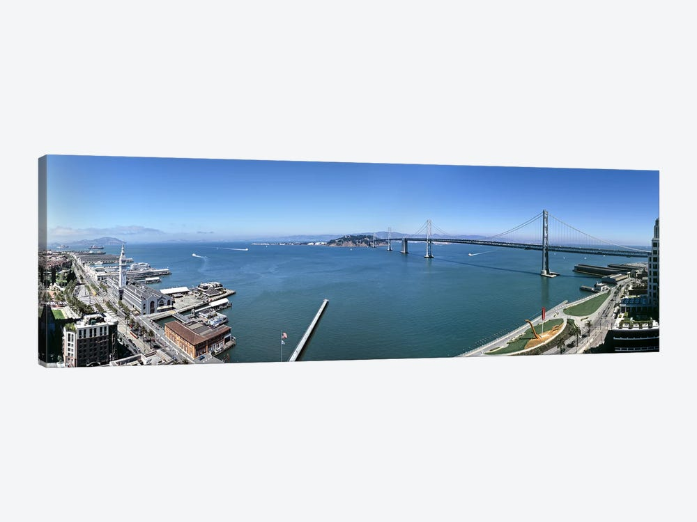 Buildings at the waterfront, Golden Gate Bridge, San Francisco Bay, San Francisco, California, USA by Panoramic Images 1-piece Canvas Art Print
