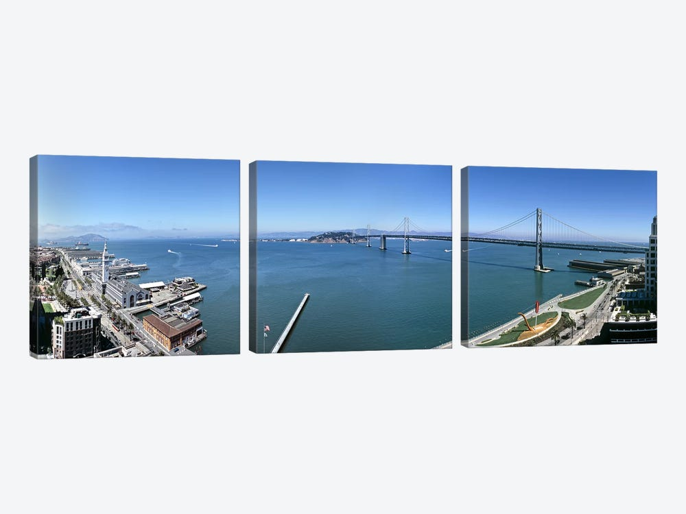 Buildings at the waterfront, Golden Gate Bridge, San Francisco Bay, San Francisco, California, USA by Panoramic Images 3-piece Art Print