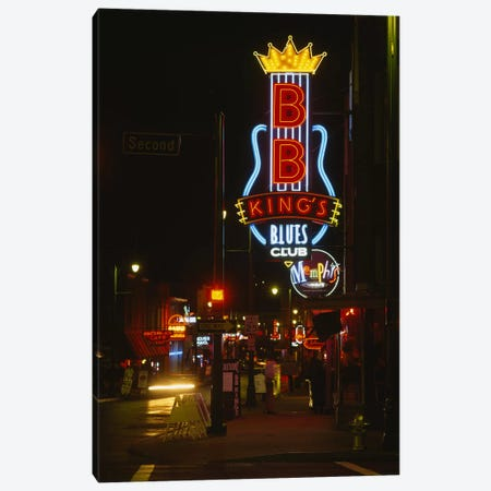 Neon sign lit up at night, B. B. King's Blues Club, Memphis, Shelby County, Tennessee, USA Canvas Print #PIM6274} by Panoramic Images Canvas Art