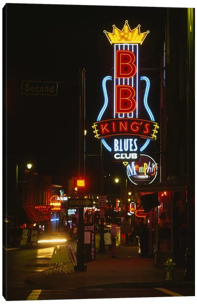 Neon sign lit up at night, B. B. King's Blues Club, Memphis, Shelby County, Tennessee, USA Canvas Art Print