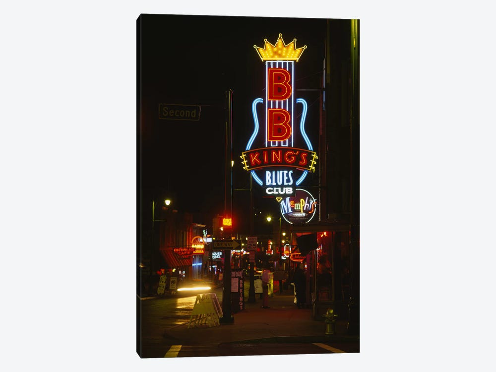 Neon sign lit up at night, B. B. King's Blues Club, Memphis, Shelby County, Tennessee, USA by Panoramic Images 1-piece Canvas Art