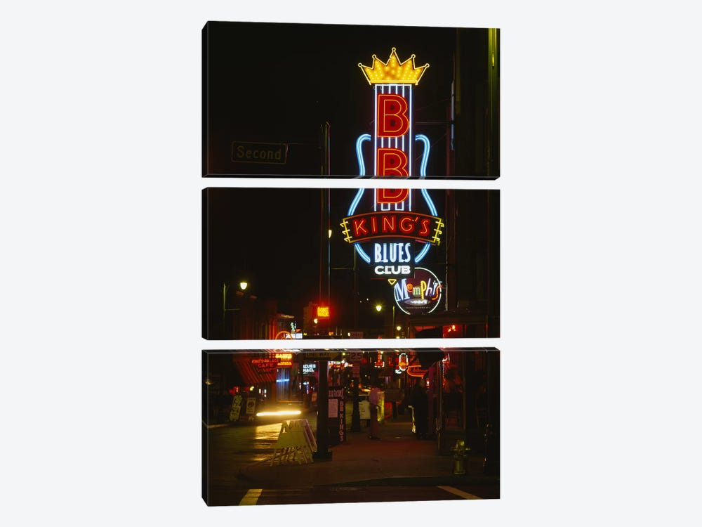Neon sign lit up at night, B. B. King's Blues Club, Memphis, Shelby County, Tennessee, USA 3-piece Canvas Art