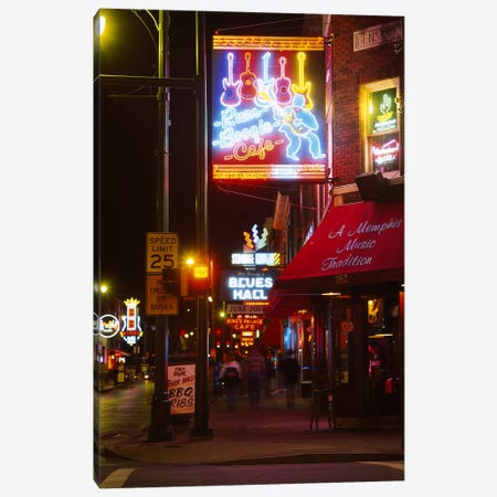 Neon sign lit up at night in a city, Rum Boogie Cafe, Beale Street, Memphis, Shelby County, Tennessee, USA Canvas Print #PIM6275} by Panoramic Images Canvas Wall Art
