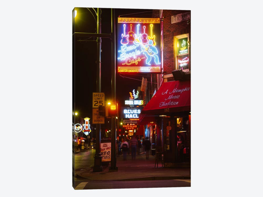 Neon sign lit up at night in a city, Rum Boogie Cafe, Beale Street, Memphis, Shelby County, Tennessee, USA by Panoramic Images 1-piece Art Print
