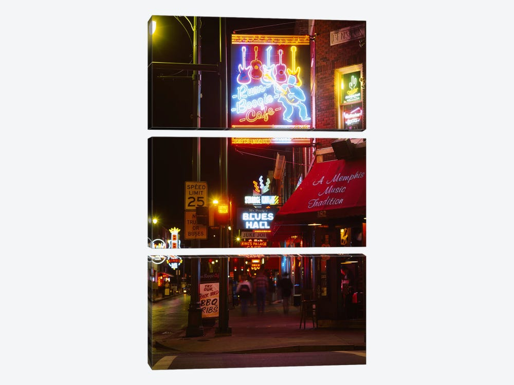 Neon sign lit up at night in a city, Rum Boogie Cafe, Beale Street, Memphis, Shelby County, Tennessee, USA by Panoramic Images 3-piece Art Print