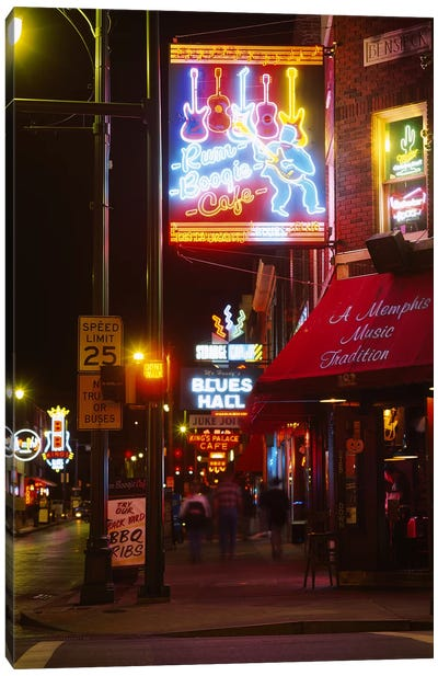 Neon sign lit up at night in a city, Rum Boogie Cafe, Beale Street, Memphis, Shelby County, Tennessee, USA Canvas Art Print