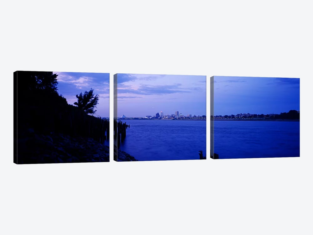 City at the waterfront, Mississippi River, Memphis, Shelby County, Tennessee, USA by Panoramic Images 3-piece Canvas Wall Art