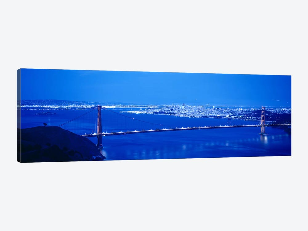 High angle view of a bridge lit up at night, Golden Gate Bridge, San Francisco, California, USA by Panoramic Images 1-piece Art Print
