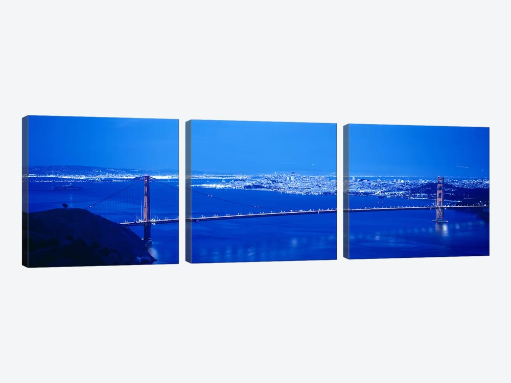 High angle view of a bridge lit up at night, Golden Gate Bridge, San Francisco, California, USA by Panoramic Images 3-piece Canvas Art Print