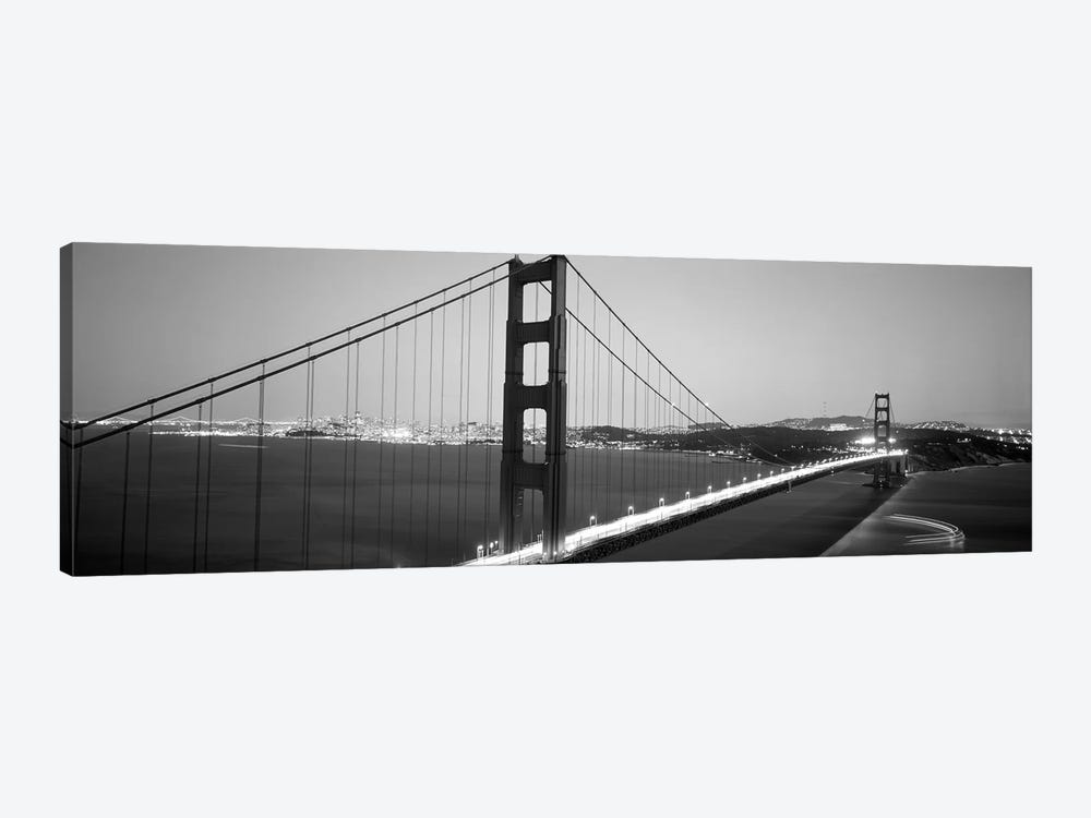 High angle view of a bridge lit up at night, Golden Gate Bridge, San Francisco, California, USA by Panoramic Images 1-piece Canvas Art