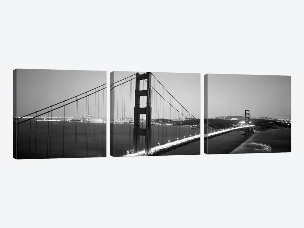 High angle view of a bridge lit up at night, Golden Gate Bridge, San Francisco, California, USA by Panoramic Images 3-piece Canvas Art