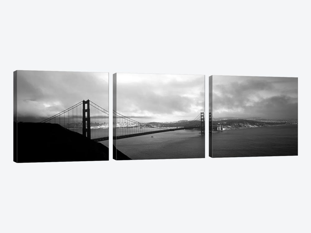 High angle view of a bridge across the sea, Golden Gate Bridge, San Francisco, California, USA by Panoramic Images 3-piece Art Print