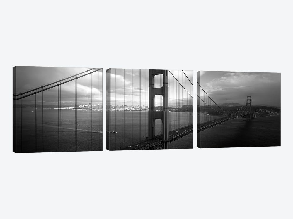 High angle view of a bridge across the seaGolden Gate Bridge, San Francisco, California, USA by Panoramic Images 3-piece Canvas Print