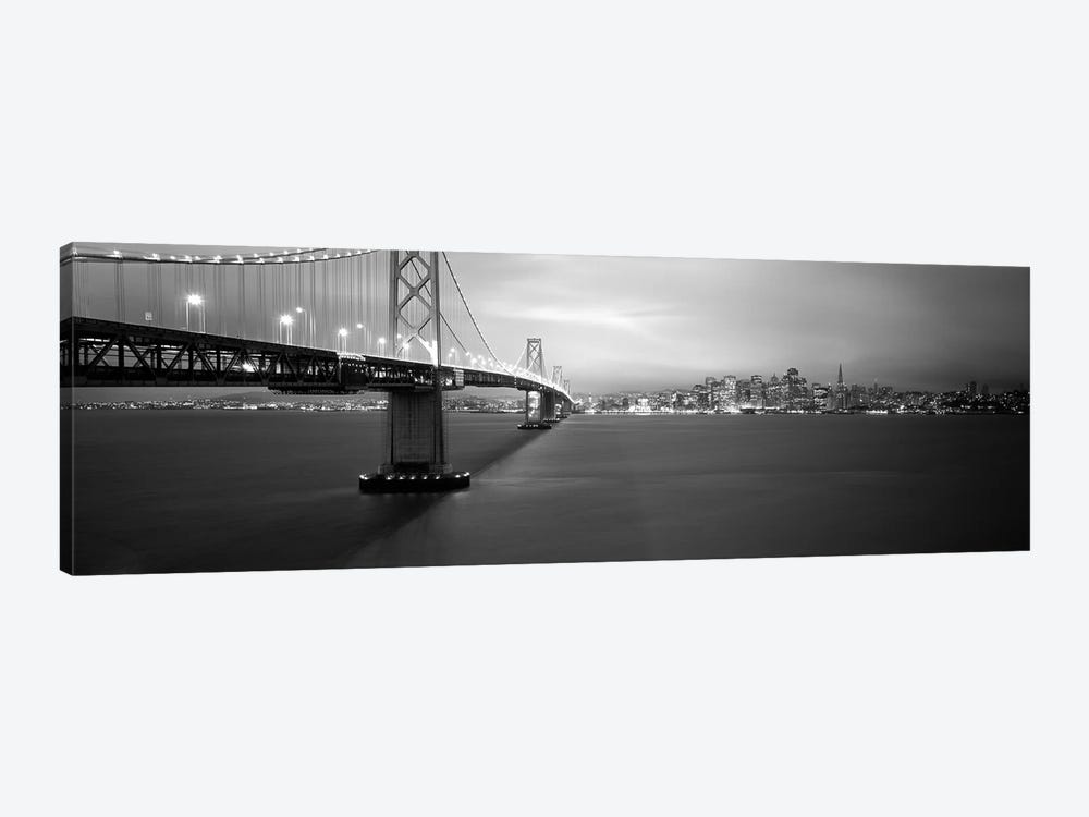 Low angle view of a suspension bridge lit up at nightBay Bridge, San Francisco, California, USA by Panoramic Images 1-piece Canvas Wall Art