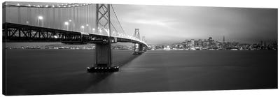 Low angle view of a suspension bridge lit up at nightBay Bridge, San Francisco, California, USA Canvas Art Print
