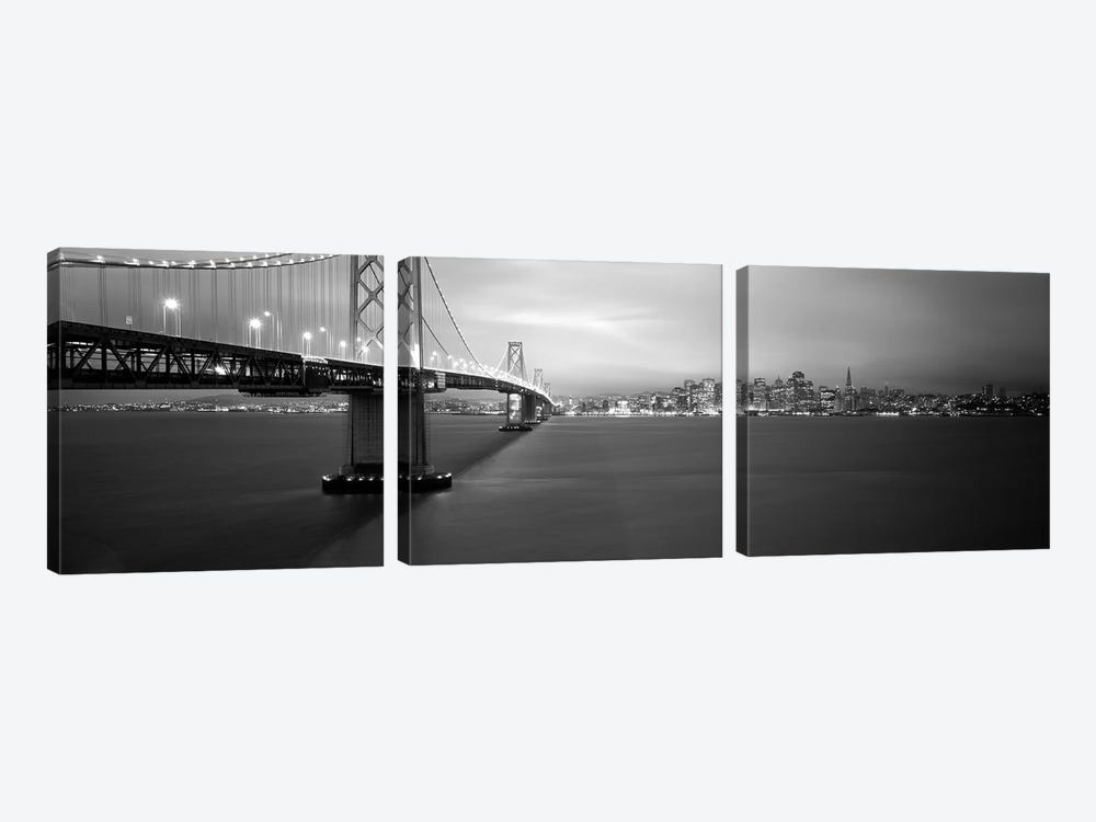 Low angle view of a suspension bridge lit up at nightBay Bridge, San Francisco, California, USA by Panoramic Images 3-piece Canvas Wall Art