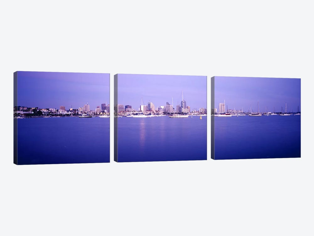 Buildings at the waterfront, San Diego, California, USA by Panoramic Images 3-piece Canvas Print