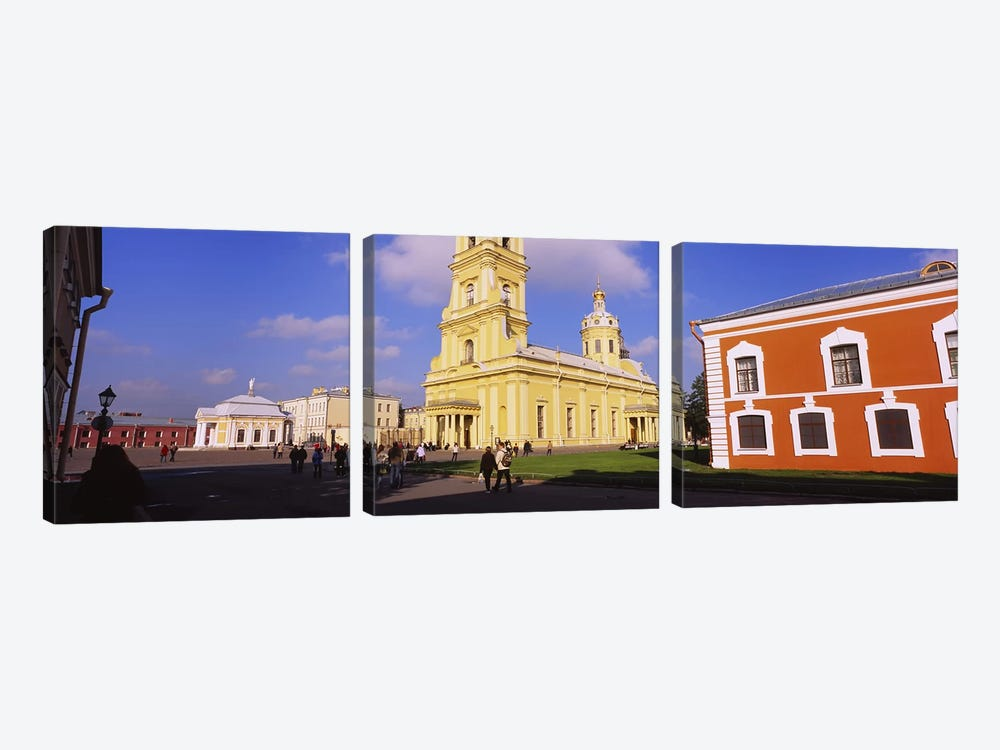 Low angle view of a cathedralPeter & Paul Cathedral, Peter & Paul Fortress, St. Petersburg, Russia by Panoramic Images 3-piece Canvas Artwork
