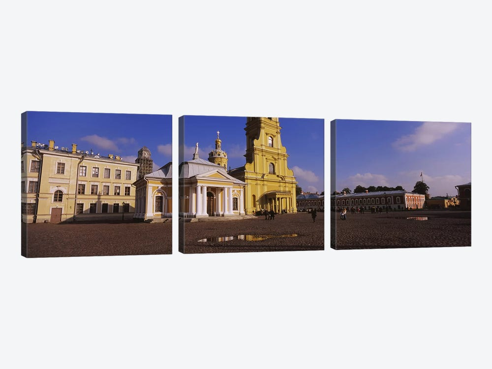 Facade of a cathedralPeter & Paul Cathedral, Peter & Paul Fortress, St. Petersburg, Russia 3-piece Canvas Print