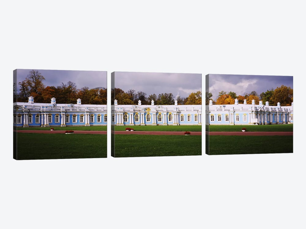 Lawn in front of a palaceCatherine Palace, Pushkin, St. Petersburg, Russia 3-piece Canvas Art Print