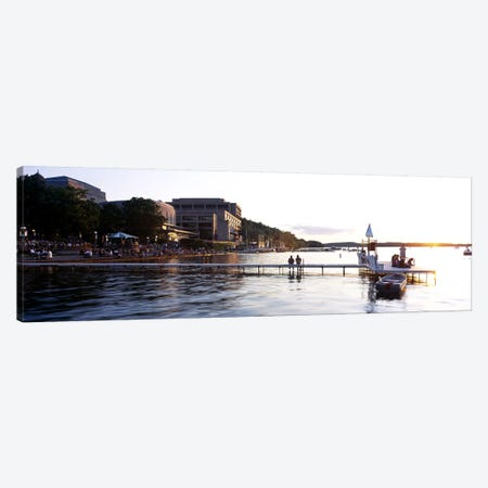 Group of people at a waterfront, Lake Mendota, University of Wisconsin, Memorial Union, Madison, Dane County, Wisconsin, USA Canvas Print #PIM6293} by Panoramic Images Canvas Art Print