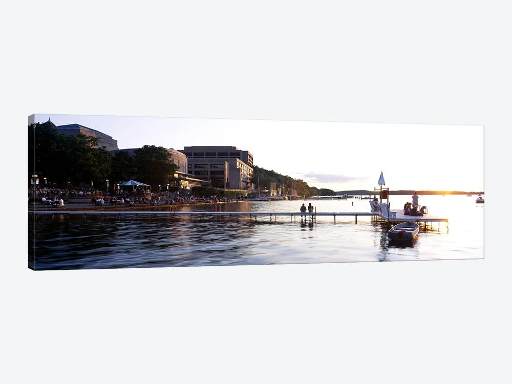 Group of people at a waterfront, Lake Mendota, University of Wisconsin, Memorial Union, Madison, Dane County, Wisconsin, USA by Panoramic Images 1-piece Canvas Art Print