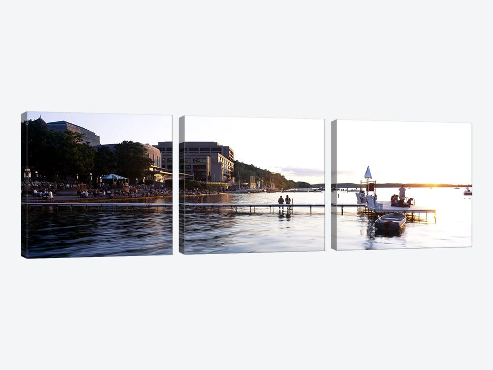 Group of people at a waterfront, Lake Mendota, University of Wisconsin, Memorial Union, Madison, Dane County, Wisconsin, USA by Panoramic Images 3-piece Canvas Print