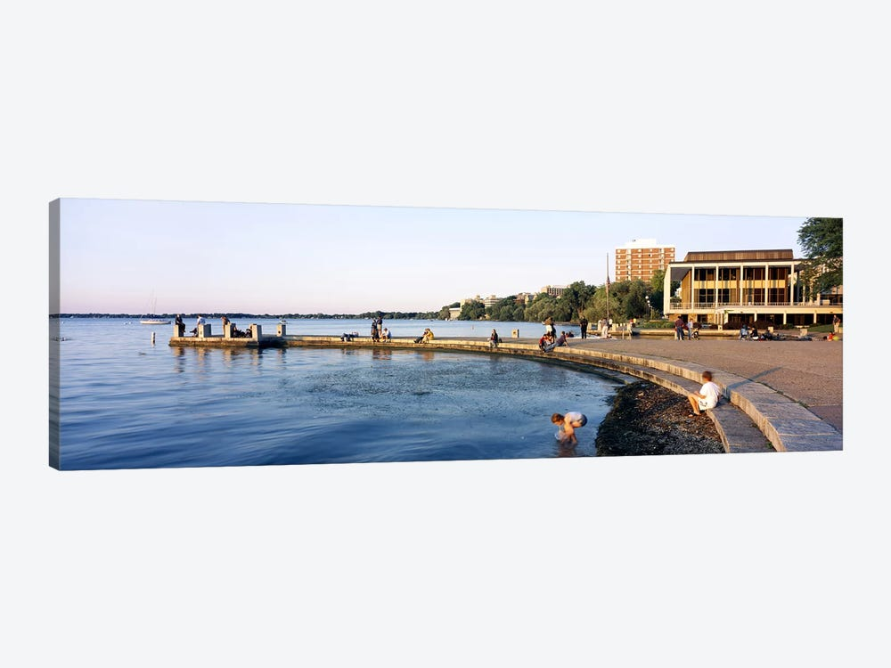 Group of people at a waterfront, Lake Mendota, University of Wisconsin, Memorial Union, Madison, Dane County, Wisconsin, USA by Panoramic Images 1-piece Canvas Wall Art