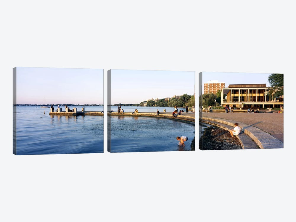 Group of people at a waterfront, Lake Mendota, University of Wisconsin, Memorial Union, Madison, Dane County, Wisconsin, USA by Panoramic Images 3-piece Canvas Art