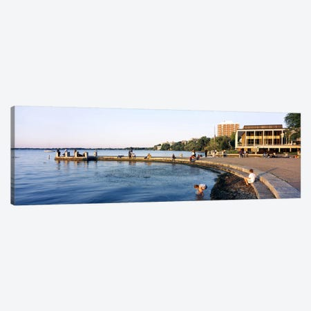 Group of people at a waterfront, Lake Mendota, University of Wisconsin, Memorial Union, Madison, Dane County, Wisconsin, USA Canvas Print #PIM6294} by Panoramic Images Canvas Art