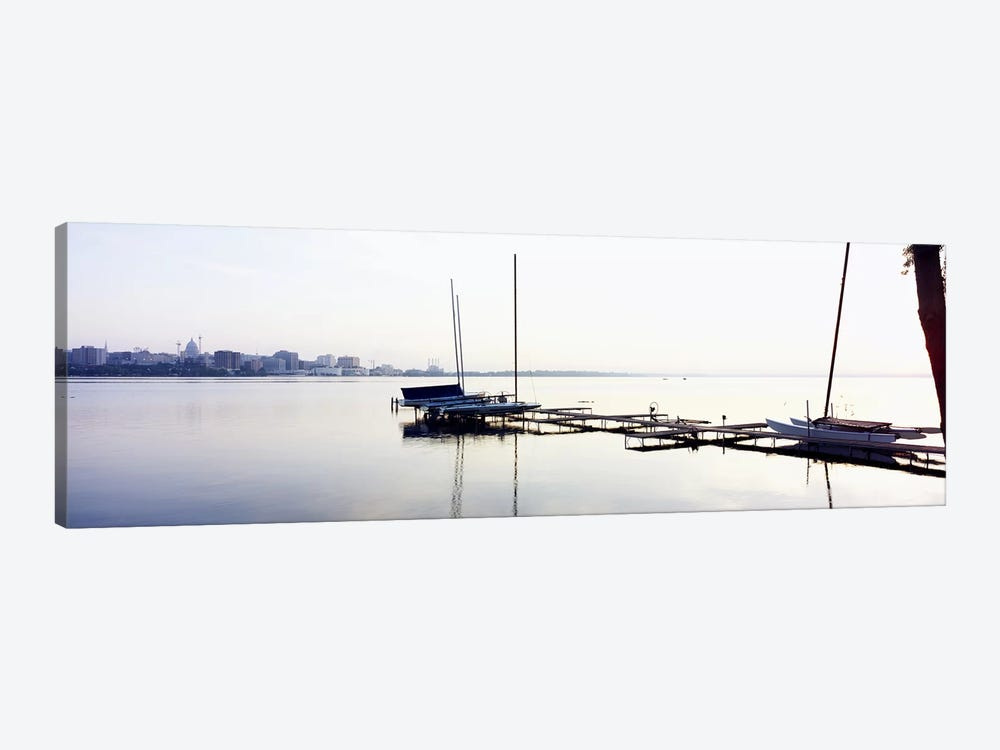 Boats at a harborLake Monona, Madison, Dane County, Wisconsin, USA by Panoramic Images 1-piece Canvas Print