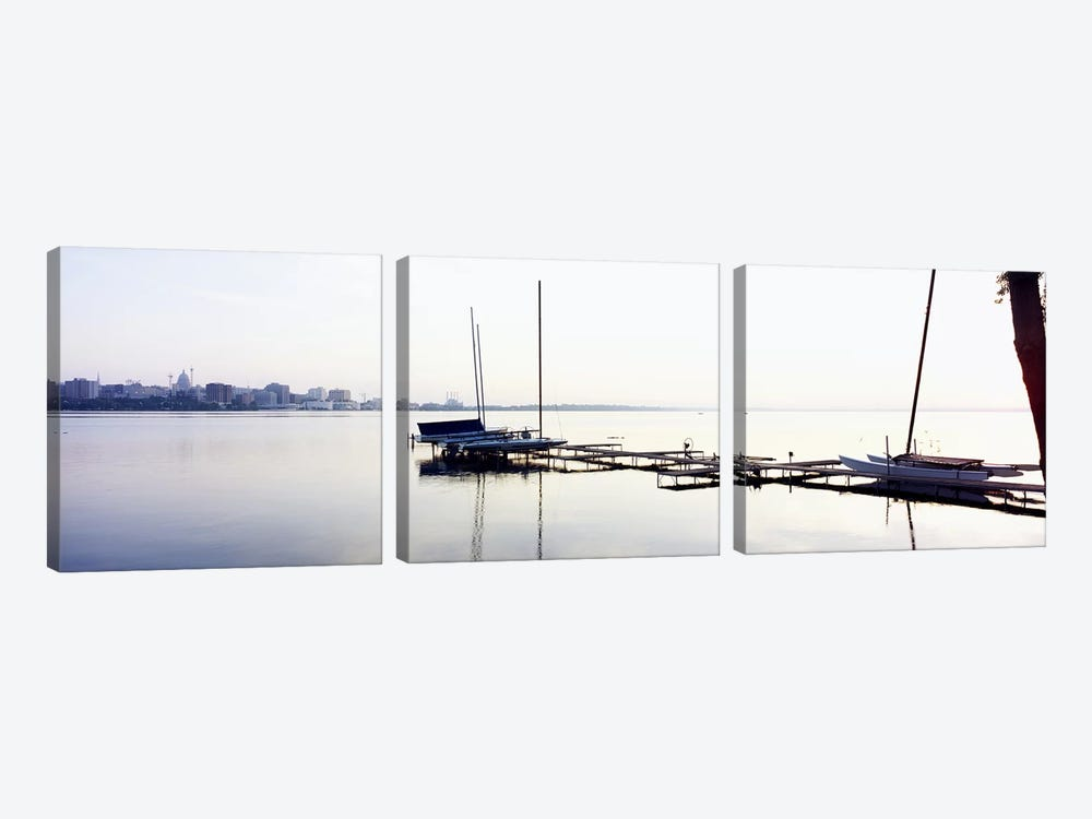 Boats at a harborLake Monona, Madison, Dane County, Wisconsin, USA by Panoramic Images 3-piece Canvas Art Print