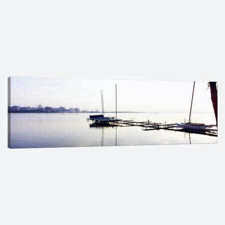 Boats at a harborLake Monona, Madison, Dane County, Wisconsin, USA Canvas Print #PIM6295} by Panoramic Images Canvas Wall Art