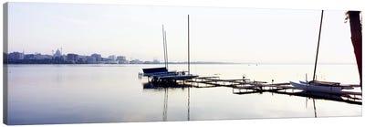 Boats at a harborLake Monona, Madison, Dane County, Wisconsin, USA Canvas Art Print