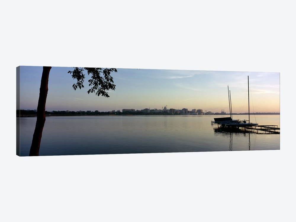 Buildings at the waterfront, Lake Monona, Madison, Dane County, Wisconsin, USA 1-piece Canvas Wall Art