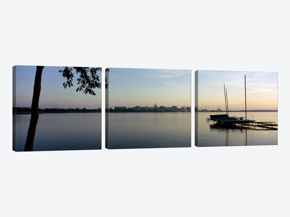 Buildings at the waterfront, Lake Monona, Madison, Dane County, Wisconsin, USA 3-piece Canvas Wall Art