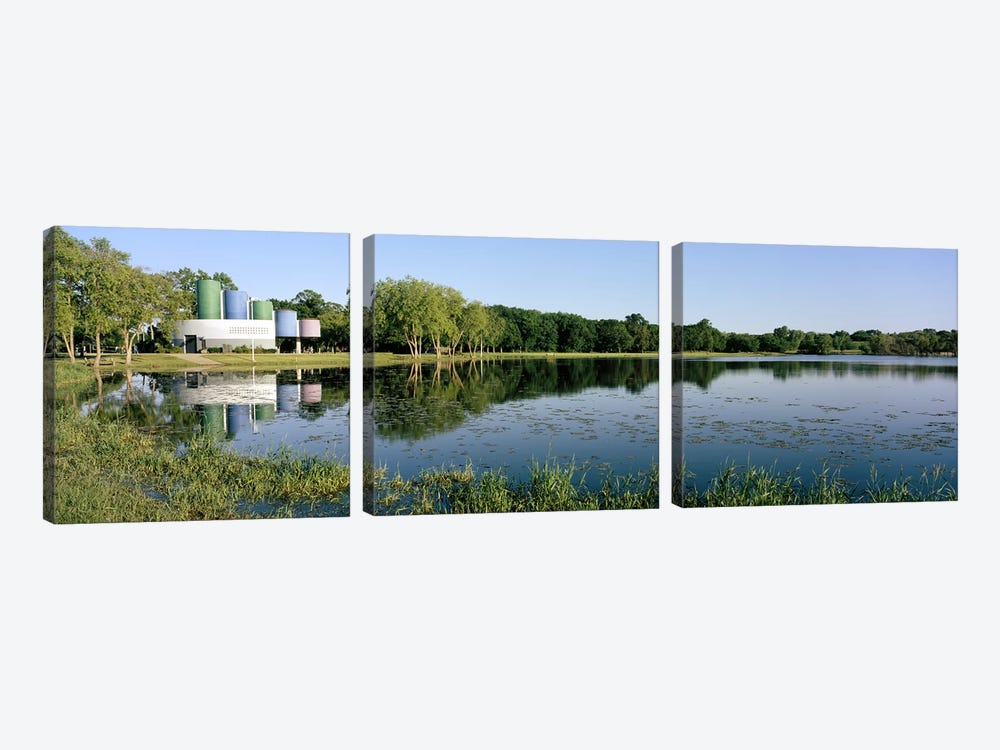 Reflection of trees in water, Warner Park, Madison, Dane County, Wisconsin, USA by Panoramic Images 3-piece Canvas Art Print