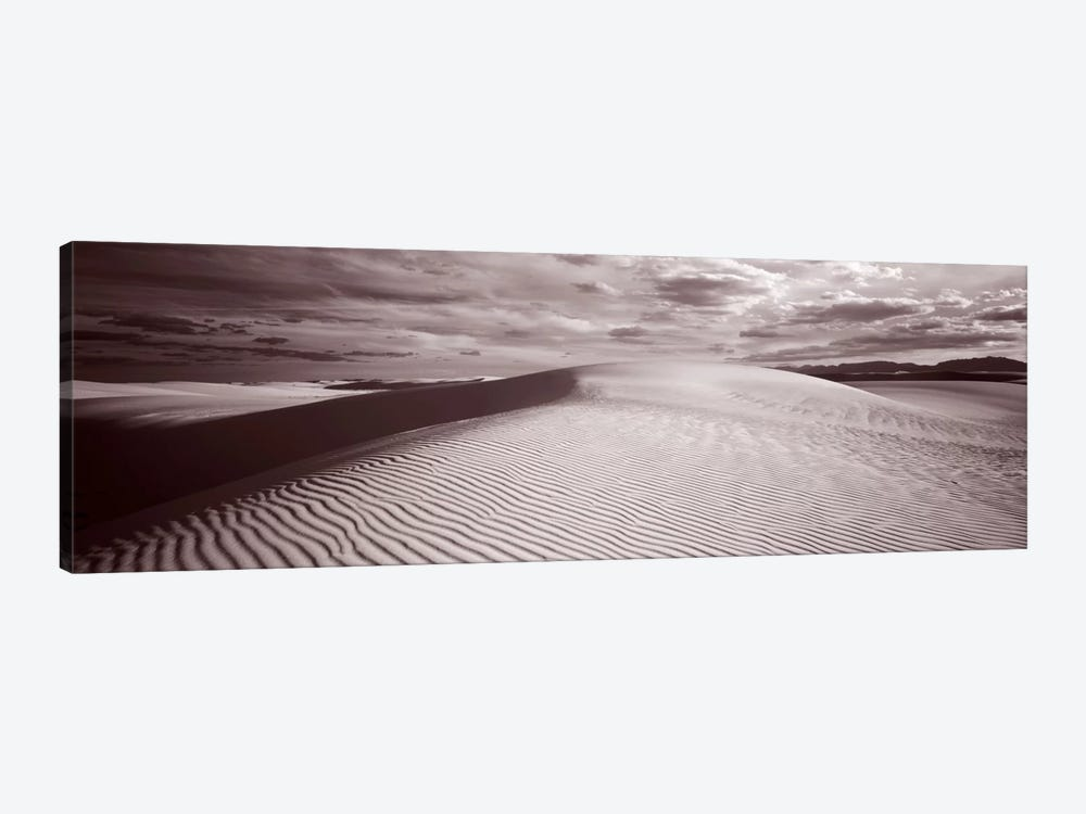 Cloudy Landscape In B&W, White Sands National Monument, Tularosa Basin, New Mexico by Panoramic Images 1-piece Canvas Art Print