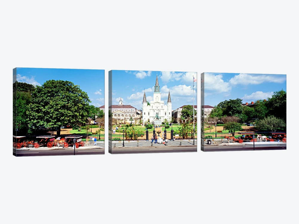 Jackson Square, New Orleans, Louisiana, USA by Panoramic Images 3-piece Canvas Wall Art