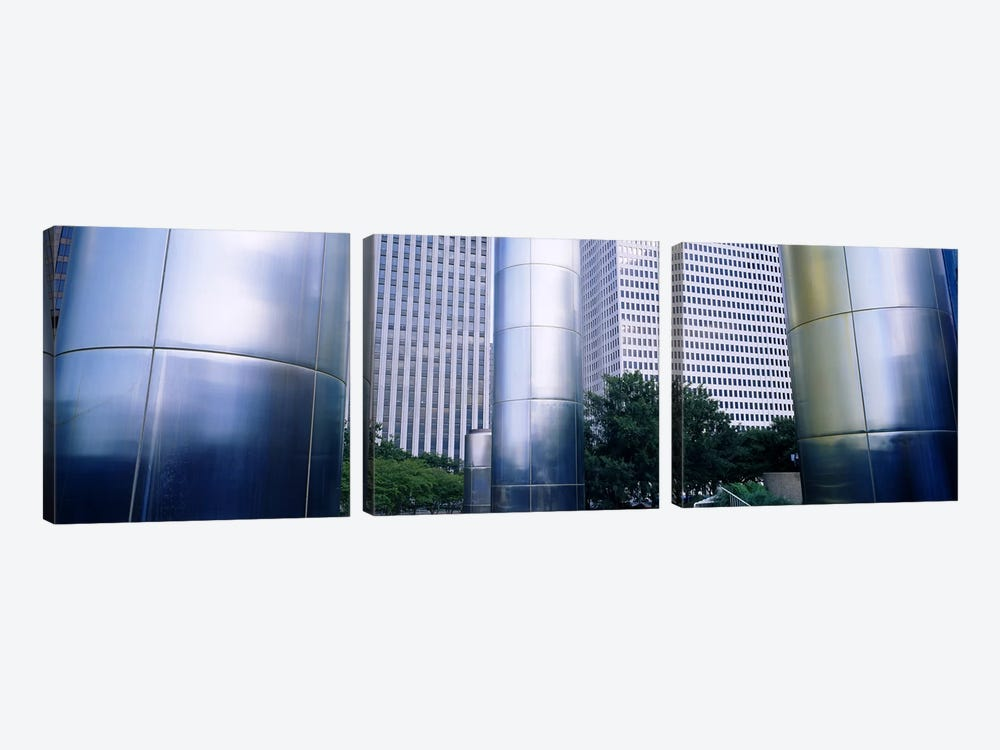 Columns of a building, Downtown District, Houston, Texas, USA by Panoramic Images 3-piece Canvas Art Print