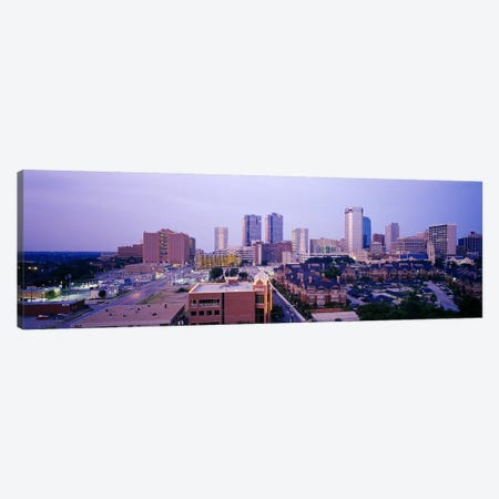 Skyscrapers in a city at dusk, Fort Worth, Texas, USA Canvas Print #PIM6306} by Panoramic Images Canvas Artwork