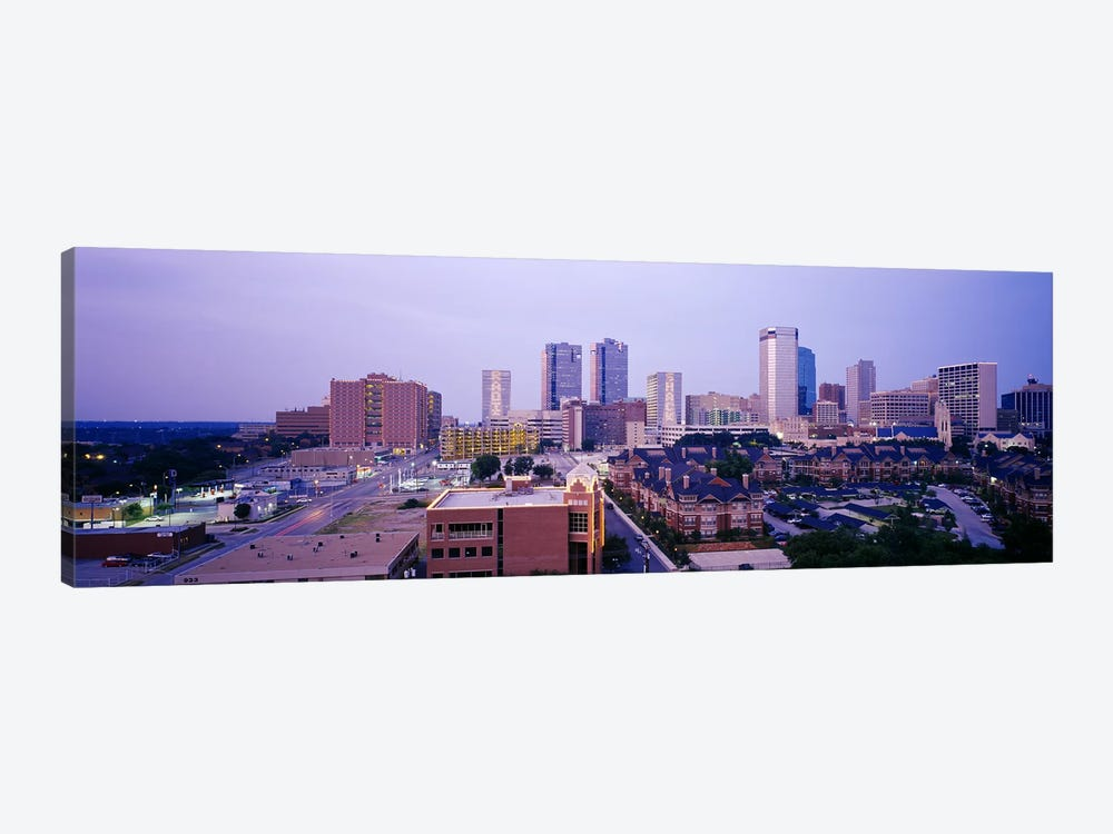 Skyscrapers in a city at dusk, Fort Worth, Texas, USA by Panoramic Images 1-piece Canvas Wall Art